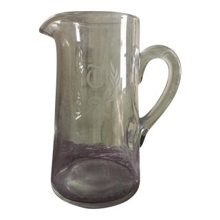 "1960s Glass Monogram ""T"" Pitcher"
