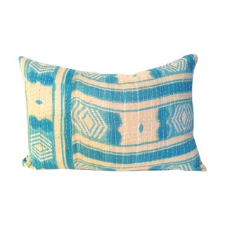 Aqua Kantha Quilt Pillow