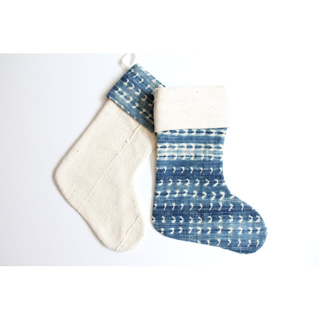 Image of Vintage Indigo and Mudcloth Christmas Stocking