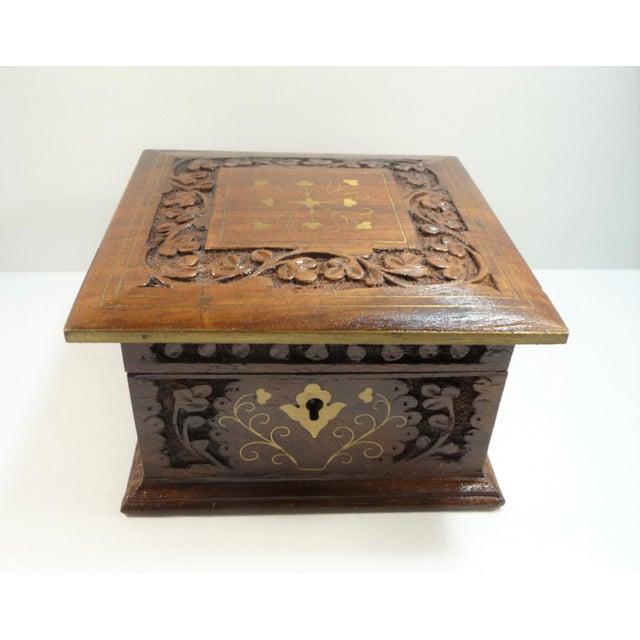 Vintage Square Carved Wood Box - Image 3 of 11