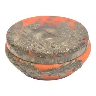 Daum Nancy Orange & Silver Lidded Glass