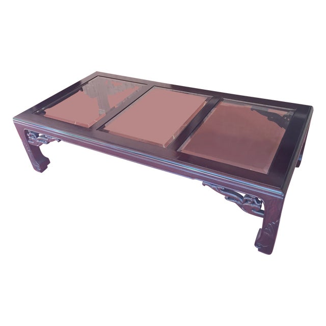 Ming Style Coffee Table 3 Double Pane Glass Top Chairish