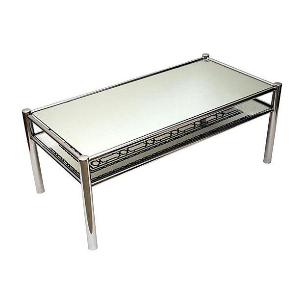 Image of Mirrored Glass & Chrome Cocktail Table