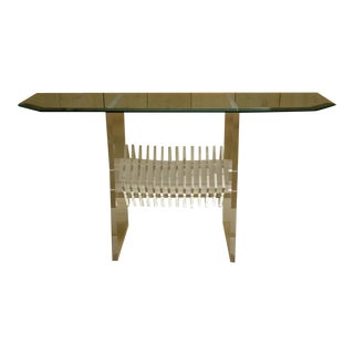 Mid-Century Glass Top Console with Fabulous Lucite Base