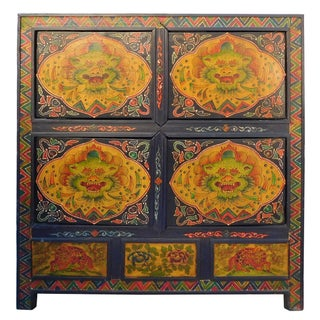 Chinese Floral Cabinet with Tibetan Dragon Motif