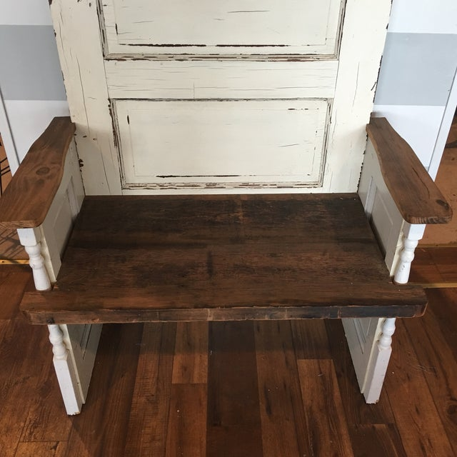 Repurposed Antique Door Hall Tree Bench - Image 5 of 8