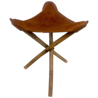 Angel Pazmino Style Embossed Leather Folding Stool