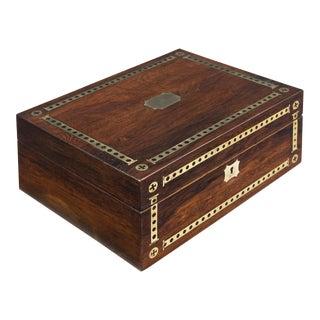 Regency Rosewood Brass Inlaid Dressing Case, Circa 1820