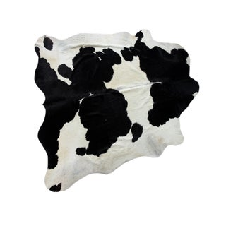 "Brazilian Black & White Cowhide Rug - 7'1"" x 7'3"""