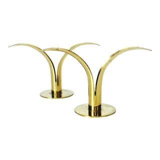 Vintage Brass Ystad Lily Candle Holders - A Pair
