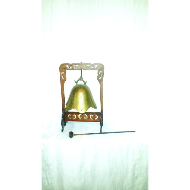 Antique Buddhist Brass & Wood Table Gong Bell - Image 6 of 6