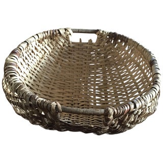 Vintage Woven Wicker Basket with Wooden Handles
