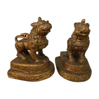 Siamese Lion Bookends - A Pair