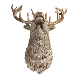 Elk Head Bust Bronze Stag Statue