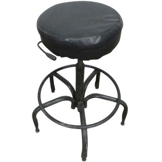 Vintage Black Cushioned Adjustable Stool