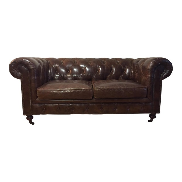 Chesterfield Sofa Brown Leather - Image 1 of 5