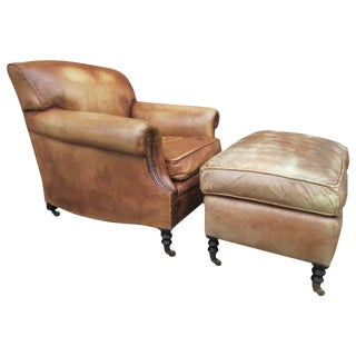 Leather Lounge Chair and Ottoman by George Smith