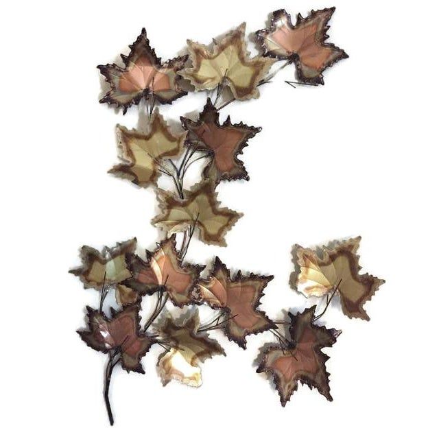 Vintage Jere Style Copper Brass Maple Leaves Metal Wall Art - Image 1 of 6