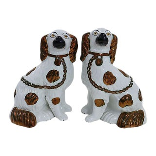 Antique Staffordshire Copper Dogs - Pair