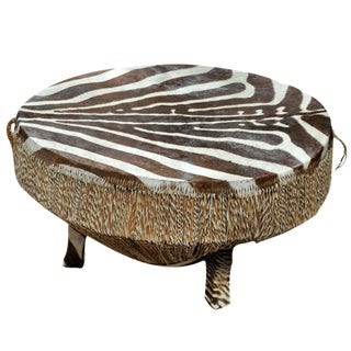 Zebra Hide Drum Table