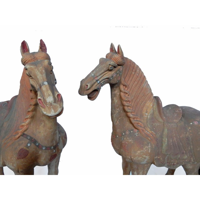 Tang Dynasty-Style Standing Horses - A Pair - Image 7 of 8