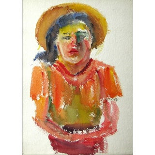Woman With Hat, Early-Mid 20th Century Watercolor