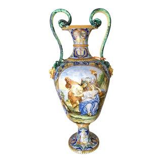 Antique Italian Faience Pottery Serpent Vase
