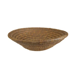 Vintage Natural Sweet Grass Handwoven Round Bowl Basket