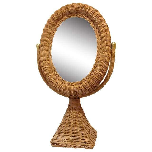 Hollywood Regency Wicker Mirror - Image 1 of 4