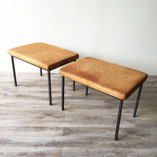 Vintage Leather Benches - A Pair - Image 2 of 5