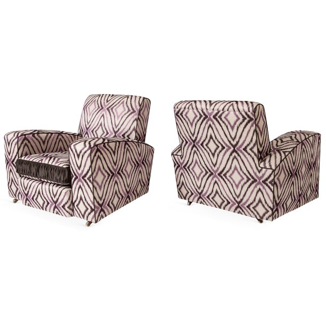 Image of Art Deco Ikat Silk Fabric Club Chairs - A Pair