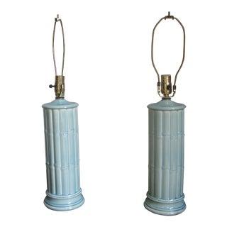 Vintage Celadon Table Lamps - A Pair
