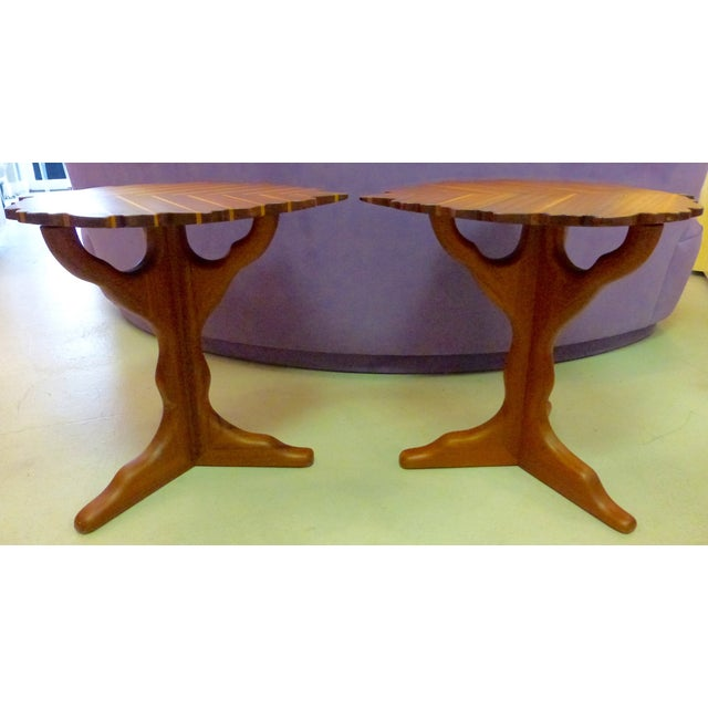 Handmade Wooden Leaf Shaped Side Tables - A Pair - Image 3 of 8