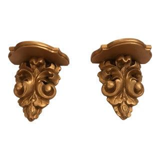 Gilded Wall Pedestals - A Pair
