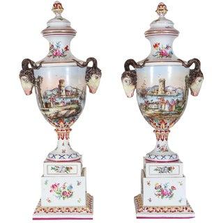 Turn-of-the-Century, Hand-Painted Italian Urns