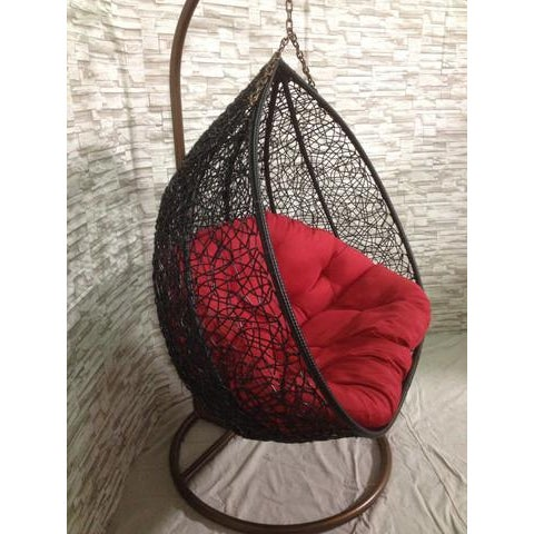 Image of Dual-Seat Wide Rattan Swing Chair
