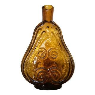 Vintage Amber Scroll Flask