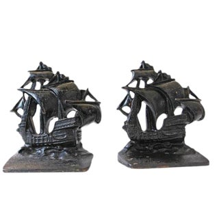 Vintage Ship Bookends - A Pair