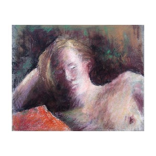 Reclining Nude Reading, Mid Century Pastel Ink