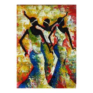 Large Rwanda African Dancing Women Acrylic Painting by Artist J d'Amour