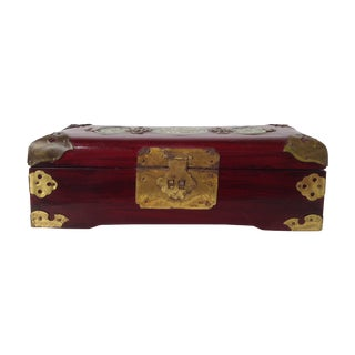 Asian Style Jade & Brass Jewelry Box