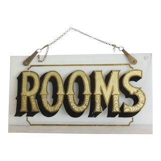 """Antique Reverse Painted Glass Sign, """"Rooms"""""""