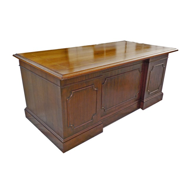 Vintage Wood Executive Traditional Desk by Hiebert - Image 8 of 9