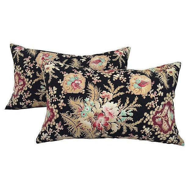 French Victorian Floral Pillows - A Pair - Image 1 of 6