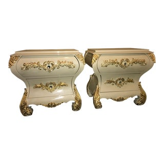 Neoclassical Gold Leaf Accent Night Tables - A Pair