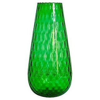 Vintage Green Optic Glass Cylindrical Vase
