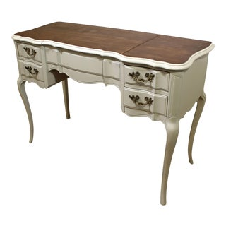 French Country Painted Wood-Top Vanity w/ Pop-Up Mirror