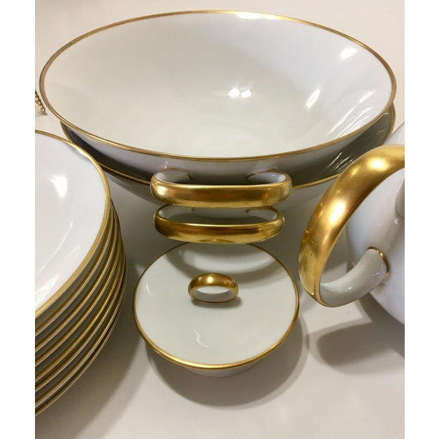 Pure White Porcelain With Gold Trim Serving Ware 28Pcs - Image 6 of 8