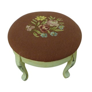 Painted Antique Round Needlepoint Footstool
