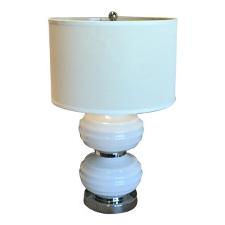 White Opal Glass & Chrome Table Lamp